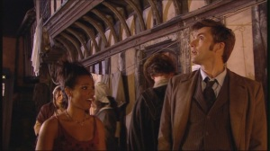 """Just act as if you own the place."" David Tennant and Freema Aygeman in The Shakespeare Code"