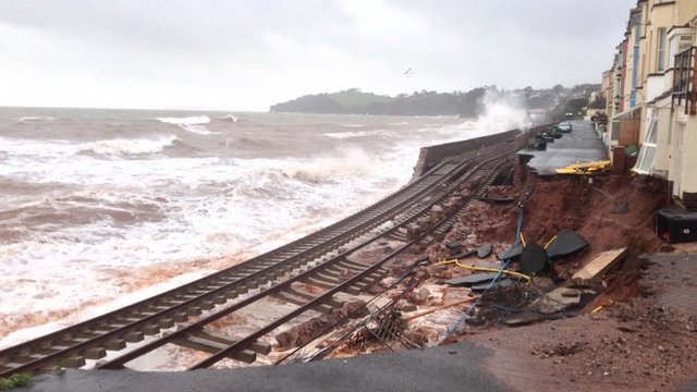 Storm damage at Dawlish, South Devon (BBC photo)